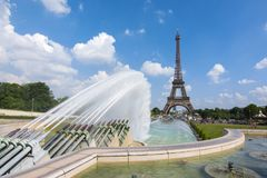Eiffel Tower and Trocadero fountains, Paris, France royalty free stock photo