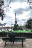 Eiffel tower from Trocadero with lonesome Man Royalty Free Stock Photo