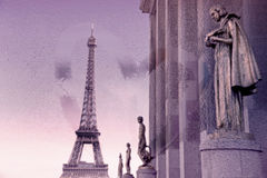 Eiffel tower from Trocadero, Paris, with view through wet glass window. (Retro style) Royalty Free Stock Images
