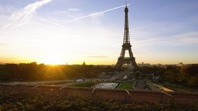 Eiffel tour and from Trocadero, Paris. Eiffel Tower from Trocadero with risinf sun, Paris, France, timelaps stock footage
