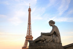 Eiffel Tower from Trocadero with statue of woman Stock Photos