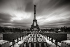 Eiffel Tower and Trocadero at Sunrise with moving clouds, Paris Royalty Free Stock Photo