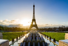 Eiffel Tower and Trocadero at Sunrise, Paris, France Stock Images