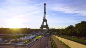 Eiffel tour and from Trocadero, Paris. Eiffel Tower from Trocadero at sunrise, Paris, France stock video footage