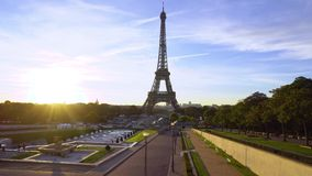Eiffel tour and from Trocadero, Paris. Eiffel Tower from Trocadero at sunrise, Paris, France timelaps stock footage