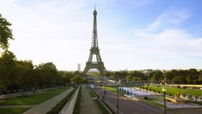 Eiffel tour and from Trocadero, Paris. Eiffel Tower and Trocadero at sunrise timelaps, Paris, France stock video footage