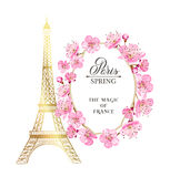 Eiffel tower and Tulip bouquet. Royalty Free Stock Photo