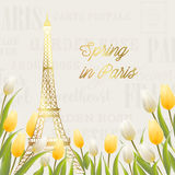 Eiffel tower and Tulip bouquet. Royalty Free Stock Image