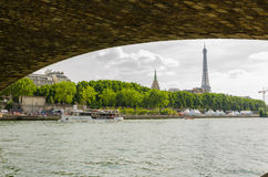 Eiffel Tower under the bridge Stock Photo