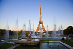 Eiffel tower under last rays of sun. royalty free stock images