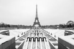 Eiffel Tower Under The Snow Stock Image