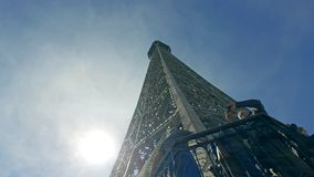 Eiffel Tower under to top panorama hyperlapse with tourist people at outdoor terace panoramic view. Paris, France - 5 May, 2017: Eiffel Tower under to top royalty free stock photos
