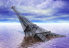 Eiffel tower Paris France under water flood and climate changes concept. Flooded Eiffel tower paris France, floods and climate changes idea 3D render Royalty Free Stock Image