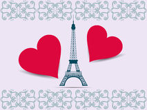 Eiffel Tower.  Valentine. Postcard from the Eiffel Tower and the hearts Royalty Free Stock Photography