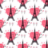 Eiffel Tower. Valentine`s Day background. Illustration black Eiffel Tower. Pink heart romantic spots. Vector seamless pattern Stock Photography