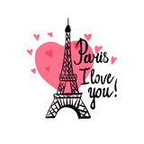 Eiffel Tower. Valentine`s Day. Illustration black ink Eiffel Tower.  Vector decorations isolated on white background. Handwritten inscription I love you Stock Photos