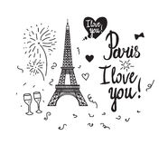 Eiffel Tower. Valentine`s Day. Illustration black ink Eiffel Tower.  Vector decorations isolated on white background. Handwritten inscription I love you Stock Photo