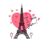 Eiffel Tower. Valentine`s Day. Illustration black Eiffel Tower. Pink heart romantic spots. Vector decorations  on white background Royalty Free Stock Image