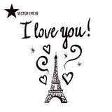 Eiffel Tower. Vector illustration. Eiffel Tower black silhouette. Handwritten inscription I love you.  on white background Royalty Free Stock Image
