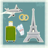 Eiffel Tower. Vector illustration of the Eiffel Tower, with the plane , luggage, tickets and wedding rings Stock Photo