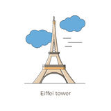 Eiffel tower vector. Eiffel tower - main attraction of Paris - vector illustration in flat and simple design. Suitable as cards, infographics, maps and touristic Royalty Free Stock Photos