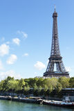 Eiffel Tower vertical landscape, river seine and boats Royalty Free Stock Images