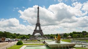 Eiffel Tower video from Trocadero Place. PARIS, FRANCE - JUNE 09, 2017: Eiffel Tower video from Trocadero Place with fountains and people on foreground. Left to stock footage