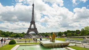 Eiffel Tower video from Trocadero Place. PARIS, FRANCE - JUNE 09, 2017: Eiffel Tower video from Trocadero Place with fountains and people on foreground. Left to stock video