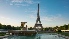 Eiffel Tower video from Trocadero Place. PARIS, FRANCE - JUNE 10, 2017: Eiffel Tower video from Trocadero Place on sunrise with fountains on foreground stock video footage