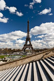 Eiffel Tower view. Eiffel Tower (La Tour Eiffel) spring view from Chaillot Palace staircase Royalty Free Stock Photos