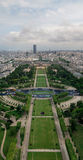 Eiffel tower view. Stacked panorama view taken from the Eiffel tower in Paris Royalty Free Stock Image