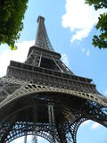 Eiffel Tower view from below. This is a close view of the amazing architecture of the Eiffel Tower in Paris, France Stock Photography