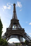 Eiffel Tower view from Champ de Mars, France with the Roland Garros tennis ball Royalty Free Stock Photo