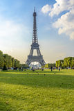 Eiffel Tower view from Champ de Mars. In Paris, France Stock Photos