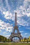 Eiffel Tower, view from the Champs de Mars. Stock Photo