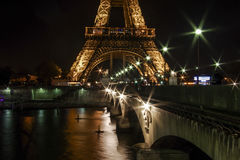 Eiffel Tower. View of Eiffel Tower and Jena Bridge over the Seine River in Paris, France Royalty Free Stock Photo
