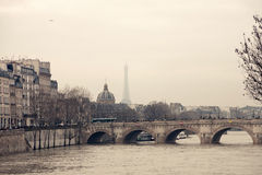Eiffel Tower view. Not far from Concorde bridge in winter day Stock Photography
