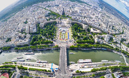 Eiffel Tower view. PARIS - July 19, 2010: Eiffel Tower view. View from the Eiffel Tower to the city Royalty Free Stock Photography