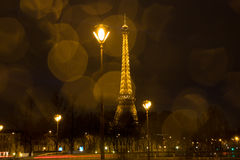 Eiffel Tower - view from Pont d'Alma. A view of the Eiffel Tower from the Pont d'Alma on sunset, on a bad weather Royalty Free Stock Images
