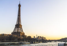 Eiffel Tower view from river at sunset Royalty Free Stock Images