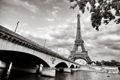 Eiffel tower view from Seine river Royalty Free Stock Photography