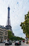 Eiffel tower view from the street Royalty Free Stock Photography