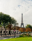 Eiffel tower view from the street. Of Paris Stock Photos