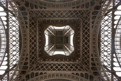 Eiffel Tower viewed from underneath Royalty Free Stock Photos