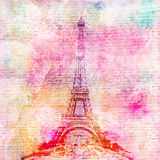 Eiffel Tower vintage background. Grungy Eiffel Tower background or scrapbook paper with anique handwritten texture Stock Photos
