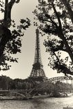 Eiffel Tower. Vintage black white Royalty Free Stock Image