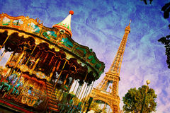 Eiffel Tower and vintage carousel, Paris, France. Retro style Stock Photography