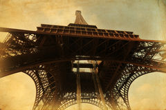 Eiffel Tower on vintage paper texture Royalty Free Stock Images