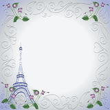 Eiffel tower. Violets. Stock Images