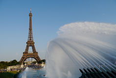 Eiffel tower and water jets. Jets of water frame the eiffel tower in paris Stock Photography